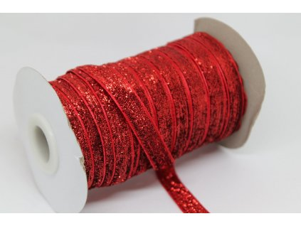 Zamatová stuha s lurexom 10mm červená