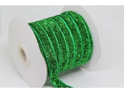 Zamatová stuha s lurexom 10mm zelená
