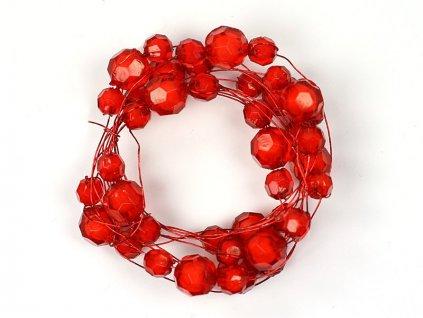 Girlanda s akrylovými perličkami na drôtiku 1,8m červená