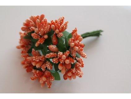 Tyčinky do kvetín s brokátom a zelenými lístkami 033