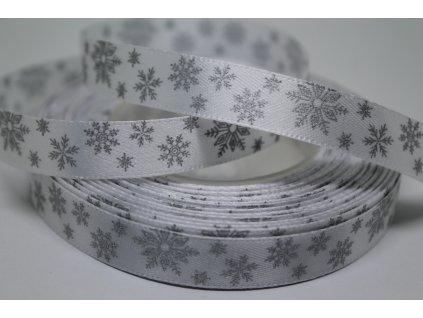 Saténová stuha so striebornými vločkami 12 mm biela