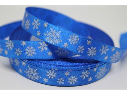 Saténová stuha so striebornými vločkami 12 mm modrá