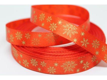 Saténová stuha so zlatými vločkami 12 mm červená