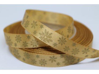 Saténová stuha so zlatými vločkami 12 mm zlatá