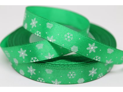 Saténová stuha s bielymi vločkami 12 mm zelená