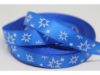 Saténová stuha s bielymi hviezdičkami 12 mm modrá