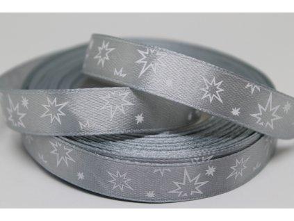 Saténová stuha s bielymi hviezdičkami 12 mm strieborná