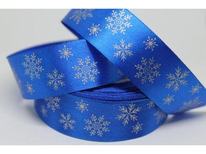 Saténová stuha so striebornými vločkami 25 mm modrá