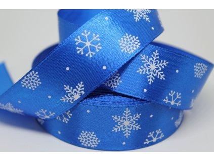 Saténová stuha s bielymi vločkami 25 mm modrá