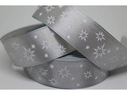 Saténová stuha s bielymi hviezdičkami 25 mm strieborná