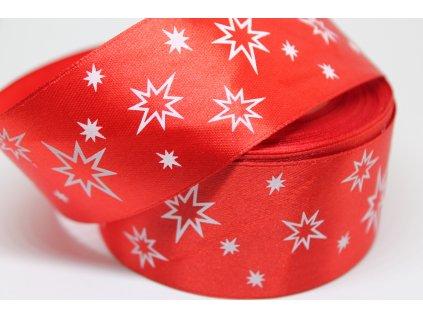Saténová stuha s bielymi hviezdičkami 38 mm červená