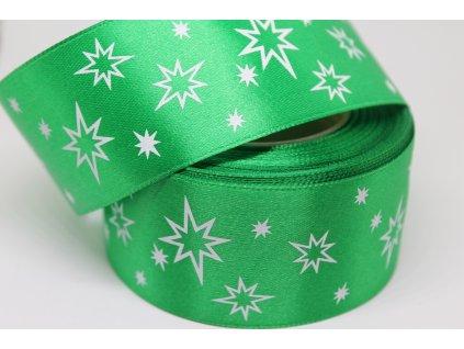 Saténová stuha s bielymi hviezdičkami 38 mm zelená