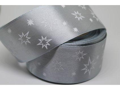 Saténová stuha s bielymi hviezdičkami 38 mm strieborná