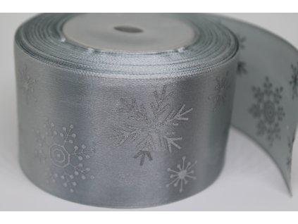 Saténová stuha so striebornými vločkami 50 mm strieborná