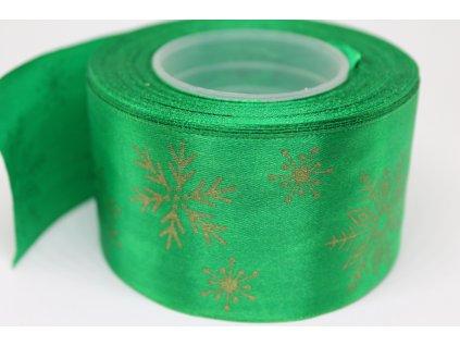 Saténová stuha so zlatými vločkami 50 mm zelená