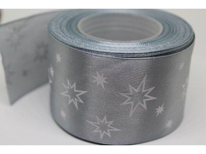 Saténová stuha s bielymi hviezdičkami 50 mm strieborná