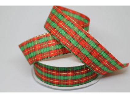 Károvaná stuha rezaná vianočná 25mm