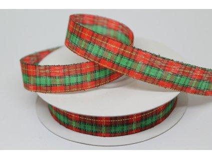 Károvaná stuha rezaná vianočná 12mm