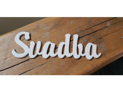 Drevený nápis biely SVADBA 20x6.5cm