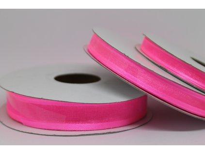 Šifónová stuha ružová s lemom 9mm 040