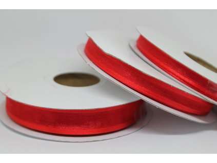 Šifónová stuha červená s lemom 9mm 050