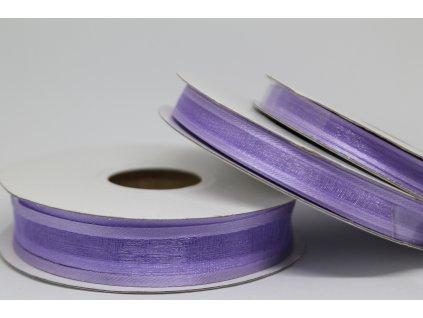 Šifónová stuha fialová s lemom 9mm 075