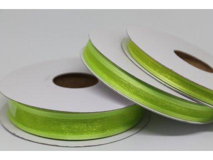 Šifónová stuha zelená s lemom 9mm 083