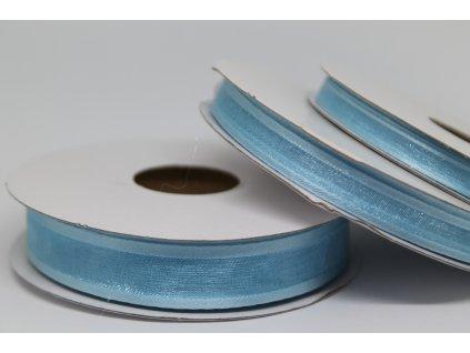 Šifónová stuha svetlo modrá s lemom 9mm 091
