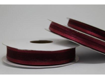 Šifónová stuha bordová s lemom 15mm 060