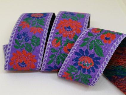 Krojová stuha vyšívaná 35mm fialová