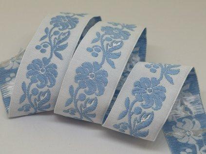Krojová stuha vyšívaná 22mm bielo-modrá