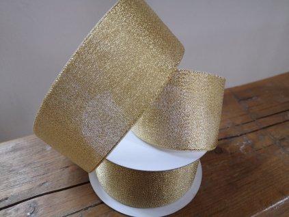 Brokátová stuha 50mm zlatá s lemom