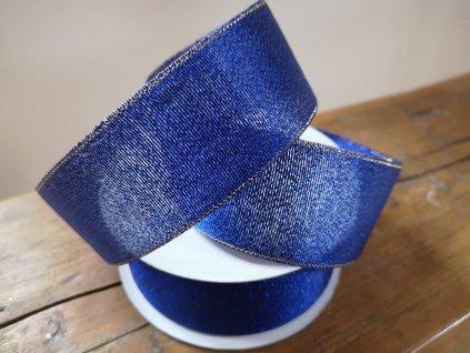Brokátová stuha 38mm kobaltová modrá so zlatým lemom