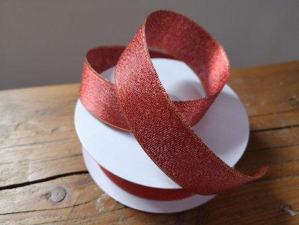 Brokátová stuha 25mm červená so zlatým lemom