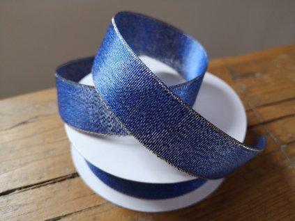 Brokátová stuha 25mm kobaltová modrá so zlatým lemom