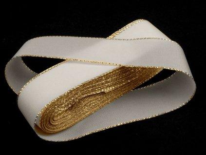 Taftová stuha s lurexom 25mm biela - zlatá 100