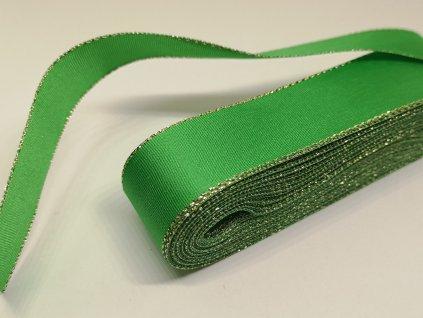 Taftová stuha s lurexom 25mm/5m stredná zelená - zlatá 309