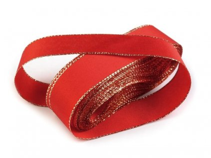 Taftová stuha s lurexom 25mm/10m červená - zlatá 643