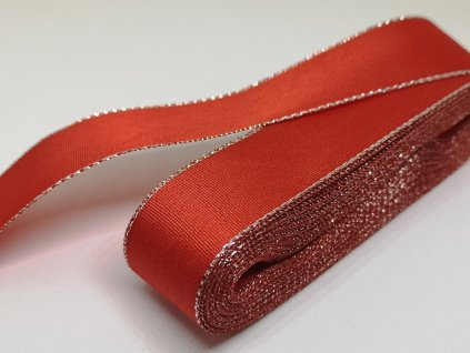 Taftová stuha s lurexom 25mm červená - strieborná 643