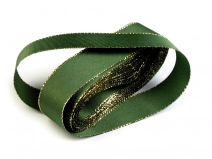 Taftová stuha s lurexom 25mm/10m zelená - zlatá 322