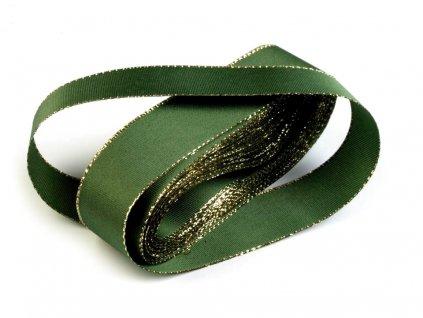 Taftová stuha s lurexom 25mm zelená - zlatá 322