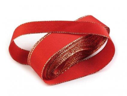 Taftová stuha s lurexom 9mm/5m červená - zlatá 643