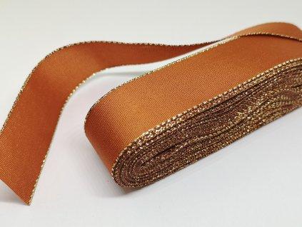 Taftová stuha s lurexom 9mm/10m rezavá - zlatá 705