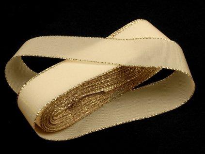 Taftová stuha s lurexom 15mm/10m svetlá krémová - zlatá 201