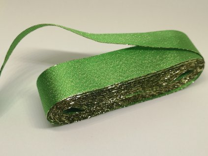 Adjustačná stuha torsade 25mm zelená - zlatá 309
