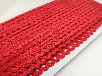 Čipka bavlnená červená 12mm