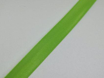 Šikmý prúžok saténový 18mm jarný zelený