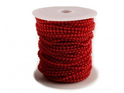 Perličky na šnúre červené 3mm