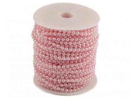 Perličky na šnúre 4mm ružové