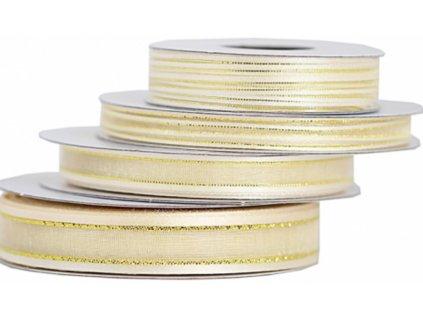 Šifónová stuha 9mm ivory so zlatým lemom